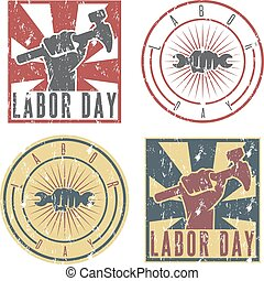 Labor Day labels with the hand of worker holding the wrench and hammer