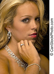 Blonde Model Headshot - A closeup of a blonde model against...