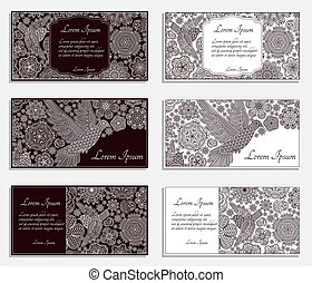 Invitation cards with creative decorative birds and flowers....