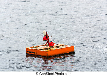 Pontoon, floating work platform with signal lights on the...