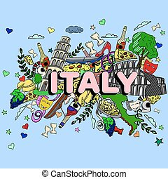 Italy line art design vector illustration. Separate objects....
