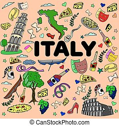 Italy line art design vector illustration Separate objects...