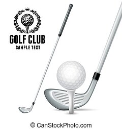 Golf Equipments - Set of Golf Equipments. White Golf Ball on...