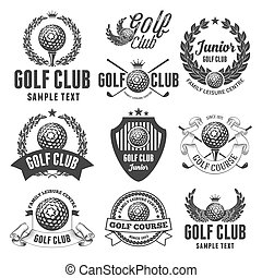 Golf Club Emblems - Set of Emblems, Logos and Labels on Golf...