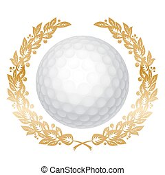 Golf Ball - White Golf Ball in Golden Laurel Wreath....