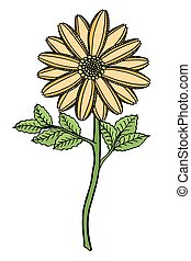 Hand drawn Flower - Colored Hand drawn Flower sketch Vector...