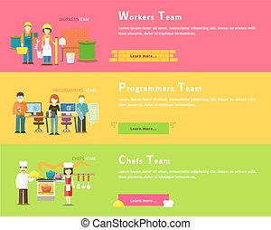 Programmers Team. Workers People. Chefs Group