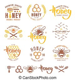 Set of honey labels, badges and design elements - Set of...