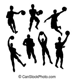 Set of basketball players