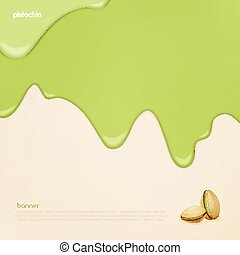 pistachio banner - fresh, flowing pistachio ice cream vector...