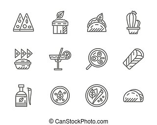 Black line vector icons for mexican menu