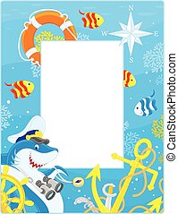 Frame with a shark captain - Vector vertical frame border...