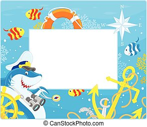 Frame with a shark captain - Vector horizontal frame border...