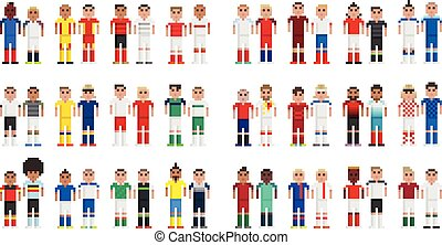 Cup 2016 Football players in pixels - Vector football...