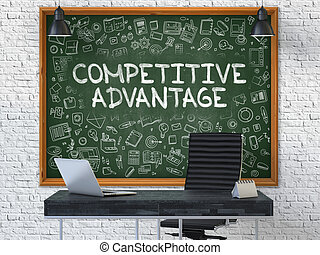Hand Drawn Competitive Advantage on Office Chalkboard. -...