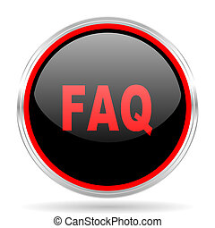 faq black and red metallic modern web design glossy circle...