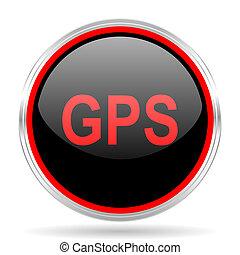 GPS, negro, y, rojo, metálico, moderno, tela,...