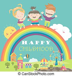 Happy children with rainbow and carousel