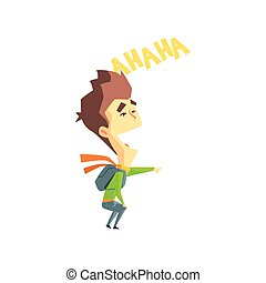 Laughing Boy Emotion Icon - Laughing Boy Flat Vector Emotion...
