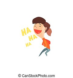 Laughing Girl Emotion Icon - Laughing Girl Flat Vector...