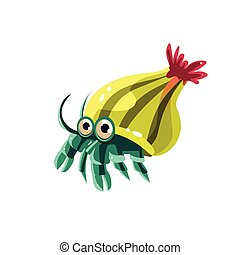 Hermit Crab Vector Illustration - Hermit Crab Cute Vector...