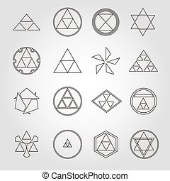 Japan religious symbols sacred geometry vector set