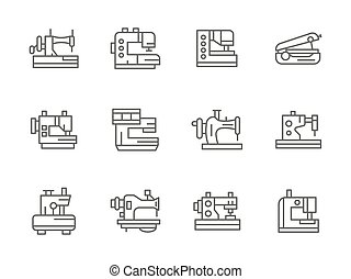 Simple black line sewing equipment vector icons
