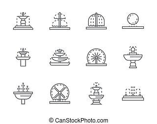 Simple black line street fountains vector icons - Different...