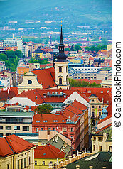 View of the city Brno, Czech Republic - View to the red...