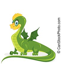 Funny green dragon - Vector illustration of a funny green...