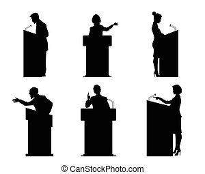 Six lecturers silhouettes - Vector illustration of a six...