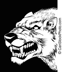 Wolfish grin on black - Vector illustration of a wolfish...