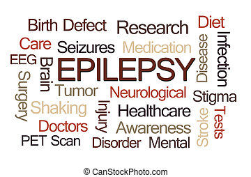 Epilepsy Word Cloud - Epilepsy Word Cloud on Light Brown...