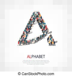 alphabet letter people crowd - Isometric set of alphabet ,...