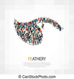 feathery people crowd - Isometric set of styles abstract...