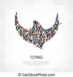 symbol flying people crowd