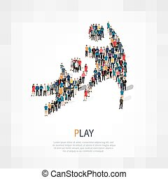 play people crowd - Isometric set of play , web infographics...