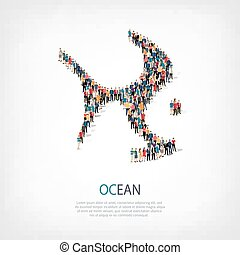 ocean sea people crowd - Isometric set of ocean , sea , web...