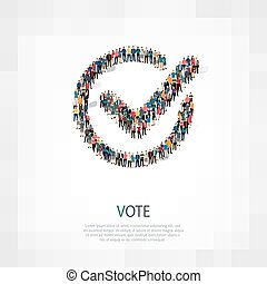 vote yes people crowd - Isometric set of vote yes , web...