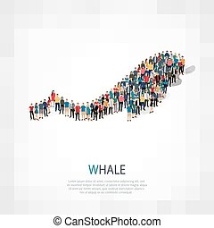 whale people crowd - Isometric set of whale , web...