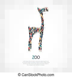 zoo animal people crowd - Isometric set of zoo, animal , web...