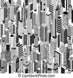 Skyscraper City Isometric Seamless Pattern