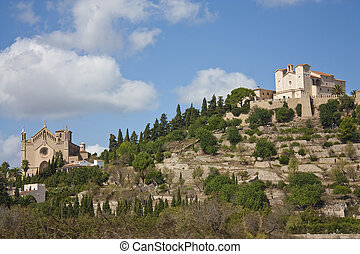 castle and cathedral on hill - castle on hill in arta in...