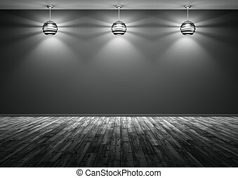Three lamps against of black wall background 3d rendering -...