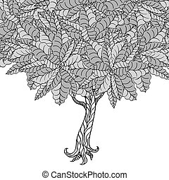 Tree with leaves Coloring book page for adults Hand drawn...