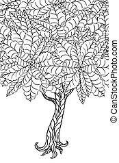 Tree with leaves. Coloring book page for adults. Hand drawn....