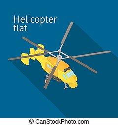 Flat isometric helicopter vector illustration. Rotorcraft...