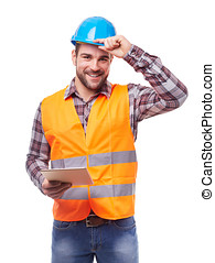 Manual worker in blue helmet with digital tablet, isolated on white.
