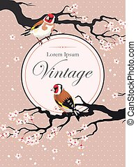 Vintage card with blooming cherry - Vector vintage card with...
