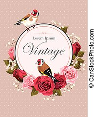Vintage card with roses - Vector vintage card with pink and...